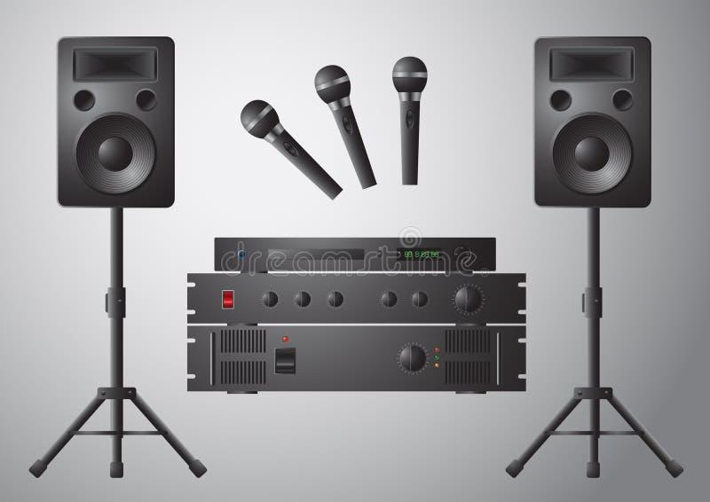 Lettore DVD dell'altoparlante del microfono dell'amplificatore illustrazione di stock