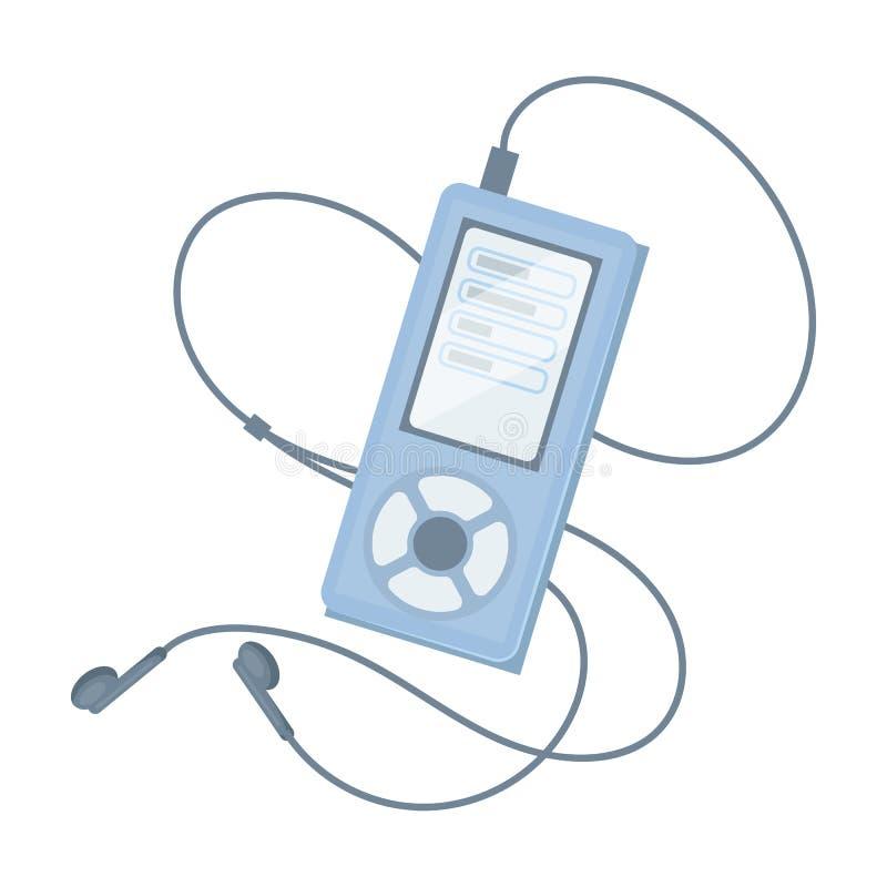 Lettore MP3 per ascoltare la musica durante l'allenamento La singola icona di allenamento e della palestra nel fumetto disegna le illustrazione vettoriale