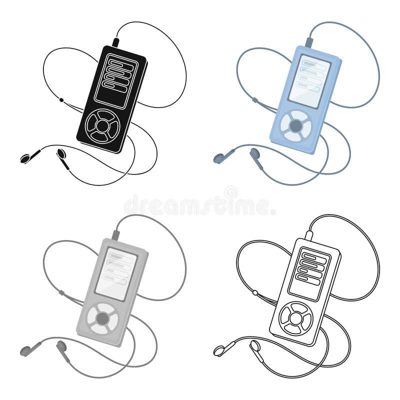 Lettore MP3 per ascoltare la musica durante l'allenamento La singola icona di allenamento e della palestra nel fumetto disegna le royalty illustrazione gratis