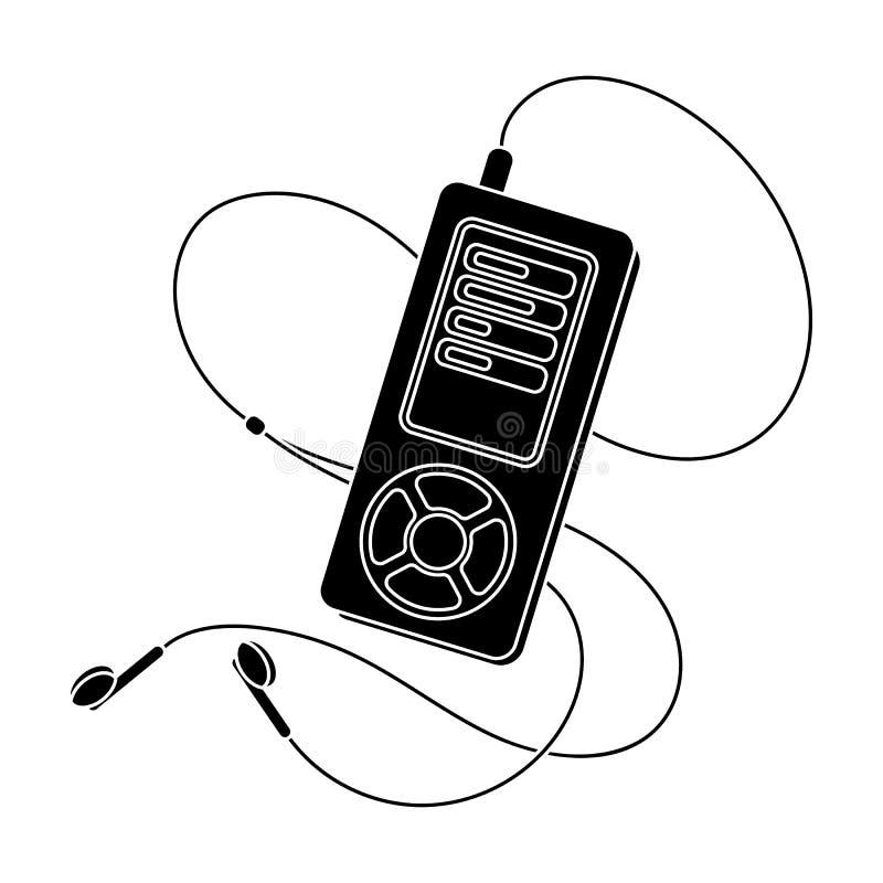 Lettore MP3 per ascoltare la musica durante l'allenamento La singola icona di allenamento e della palestra nello stile nero vecto royalty illustrazione gratis