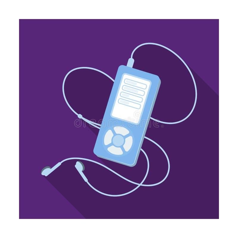 Lettore MP3 per ascoltare la musica durante l'allenamento La singola icona di allenamento e della palestra nello stile piano vect royalty illustrazione gratis