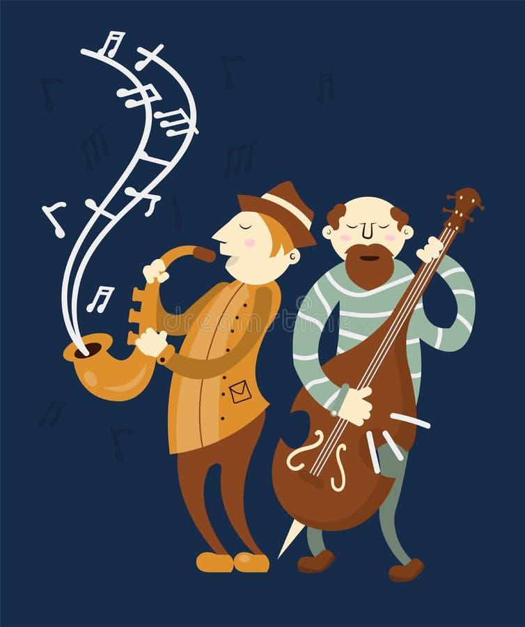 Lettori sassofono di concerto di jazz e banda del violoncello illustrazione vettoriale