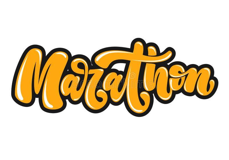 Lettrage écrit par main de marathon dans le style de graffiti Logo, emblème ou symbole de marathon D'isolement sur le fond Illust illustration libre de droits