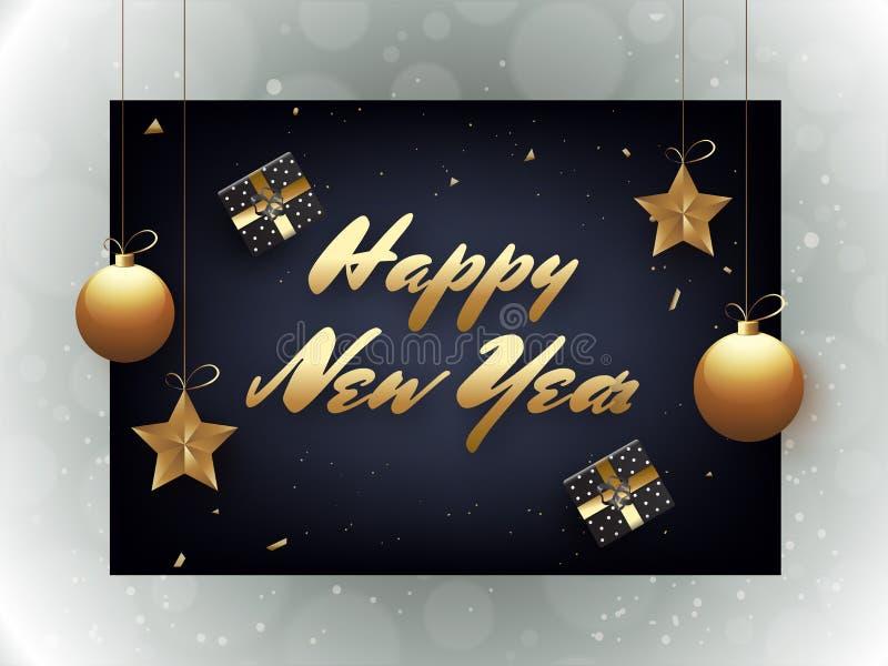 Lettrage élégant de bonne année avec le coup d'étoiles et de babioles illustration libre de droits