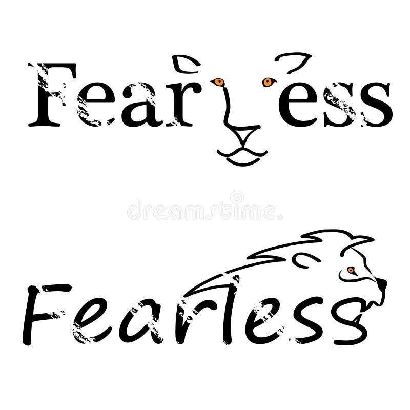 Lettrage abstrait courageux de citation avec le lion Élément de typographie de conception graphique d'inspiration de calligraphie illustration de vecteur
