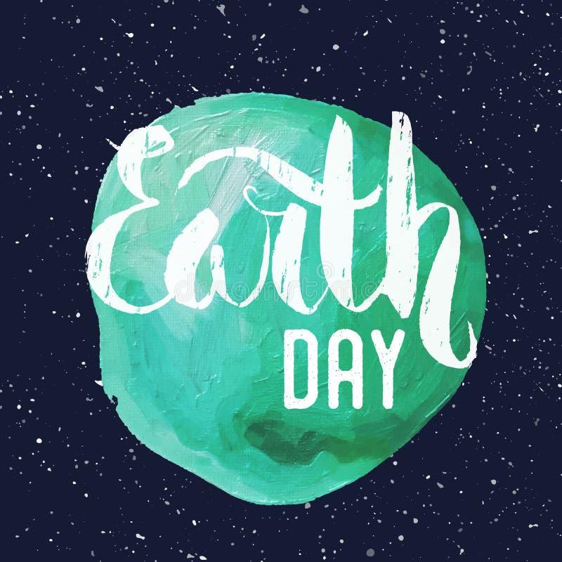 lettrage Affiche pour le jour de terre illustration de vecteur