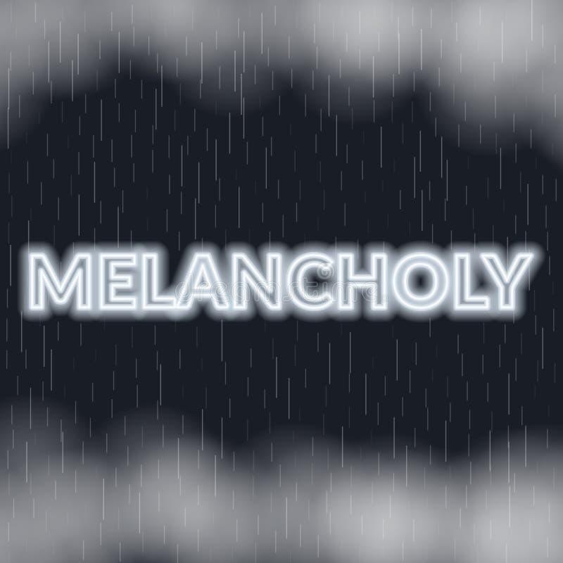 Lettrage au néon mélancolique Humeur triste Illustration de vecteur illustration de vecteur