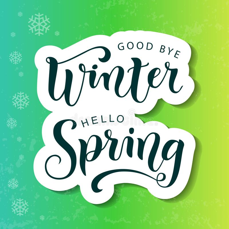 Lettrage au revoir de ressort d'hiver bonjour dans le style coupé de papier sur le fond bleu, vert, jaune avec la texture et les  illustration stock