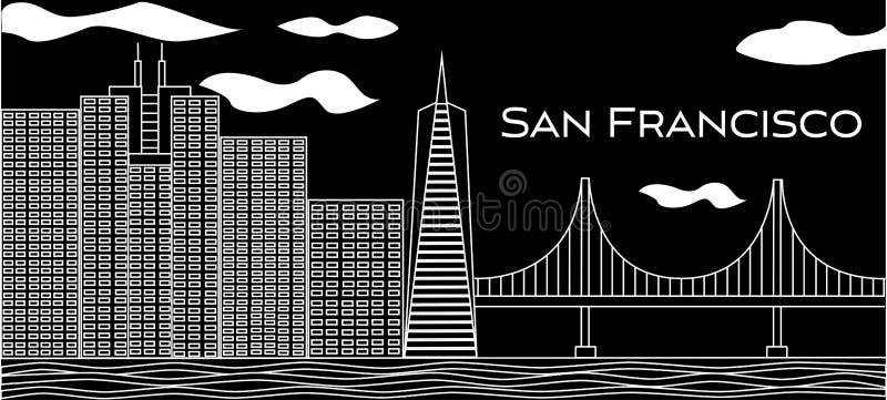 Lettrage blanc de San Francisco Vecteur avec des gratte-ciel et golden gate bridge sur le fond noir Carte postale de voyage illustration de vecteur