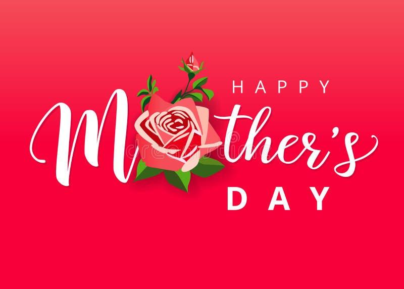 Lettrage blanc heureux du jour de mère avec une belle fleur rose illustration stock