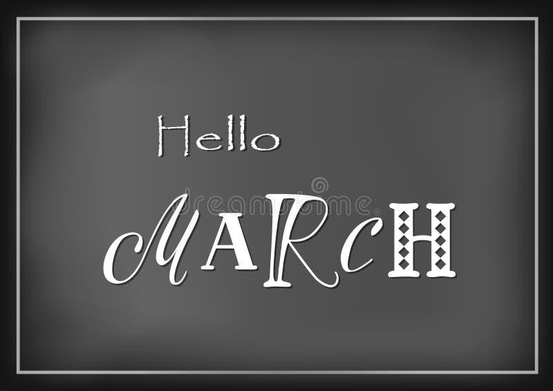 Lettrage bonjour de mars avec différentes lettres dans le blanc sur le fond foncé stylisé comme lettrage de craie illustration libre de droits
