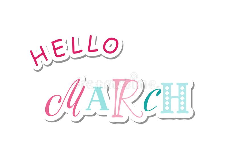 Lettrage bonjour de mars avec différentes lettres dans le bleu et le rose dans le style coupé de papier avec l'ombre sur le fond  illustration stock