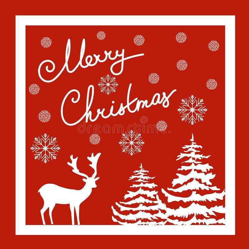 Lettrage calligraphique de main de Joyeux Noël Carte de voeux de vecteur Flocons blancs de neige de sapins de cerfs communs Fond  illustration stock