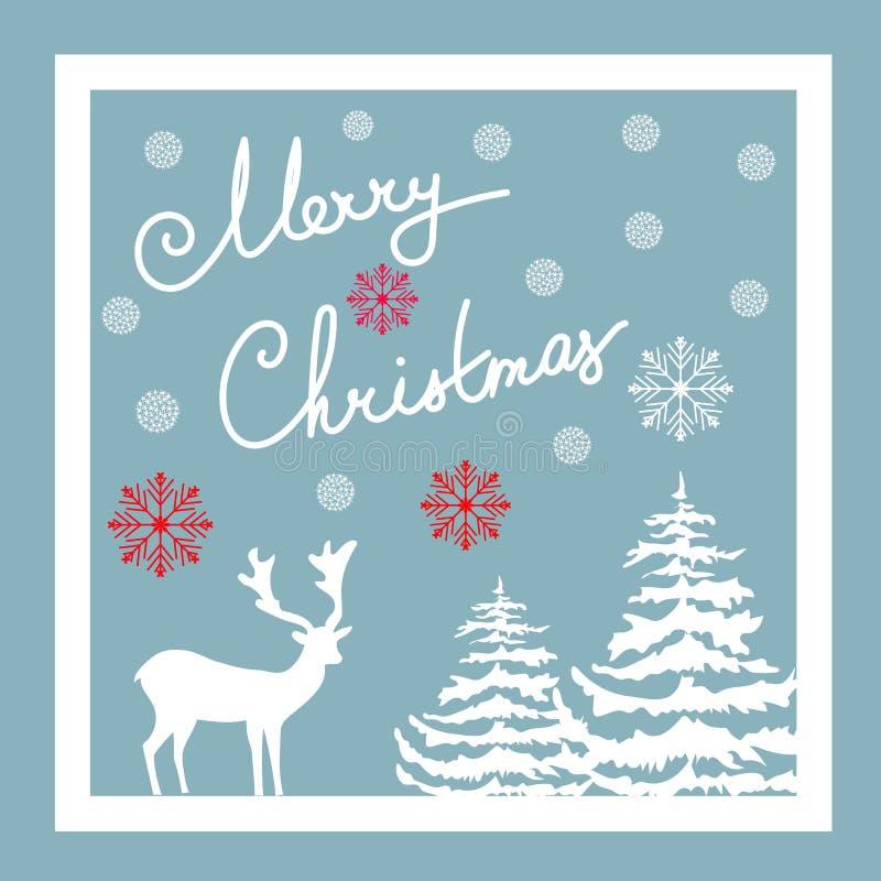 Lettrage calligraphique de main de Joyeux Noël Carte de voeux de vecteur Flocons rouges de neige de sapins blancs de cerfs commun illustration stock