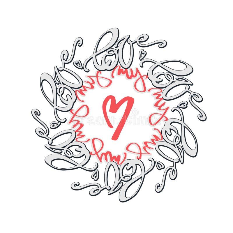 Lettrage calligraphique de style de mandala de concept d'amour illustration de vecteur