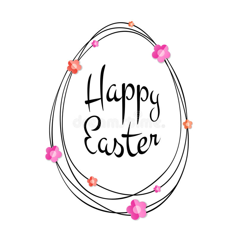 Lettrage calligraphique typographique noir heureux de Pâques de vecteur avec le cadre d'oeufs de griffonnage d'or et les fleurs d illustration stock