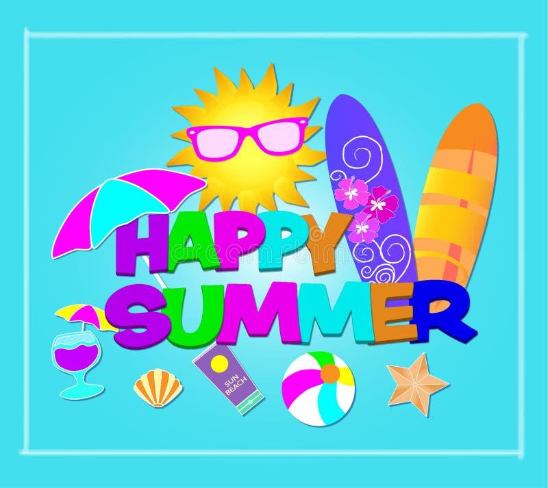 Lettrage coloré d'été heureux Vecteur avec des icônes de plage sur le fond bleu-clair photographie stock libre de droits