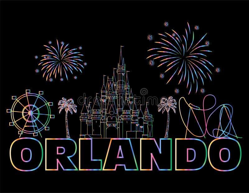 Lettrage coloré d'Orlando sur le backround noir Vecteur avec des icônes et des feux d'artifice de voyage Carte postale d'art illustration stock