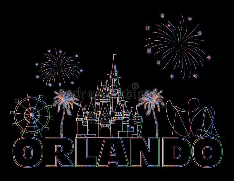 Lettrage color? d'Orlando sur le backround noir E Carte postale de voyage image stock