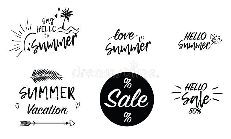 Lettrage d'écriture des textes de fond de vacances de vente d'été d'amour Papier peint, insectes, stiker, invitation, affiches, b illustration de vecteur