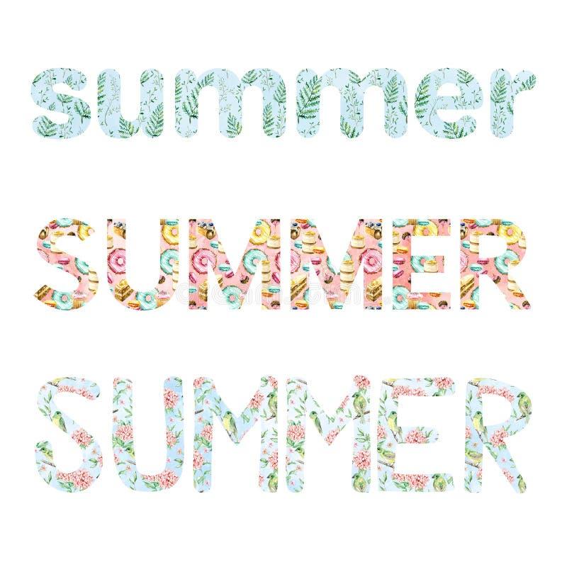 Lettrage d'été d'aquarelle pour des cartes, des bannières, des affiches et plus illustration de vecteur