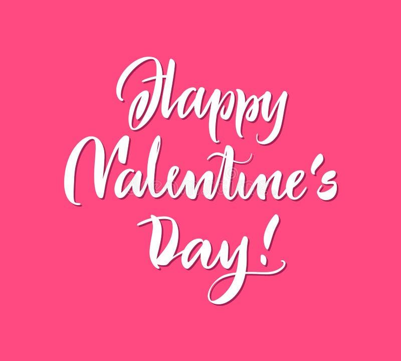 Lettrage d'affiche, jour de valentines heureux, fond rose illustration stock