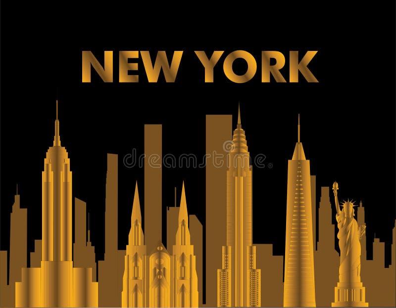 Lettrage d'or de New York Vecteur avec des skycrapers et des icônes de voyage sur le fond noir Carte de voyage illustration de vecteur