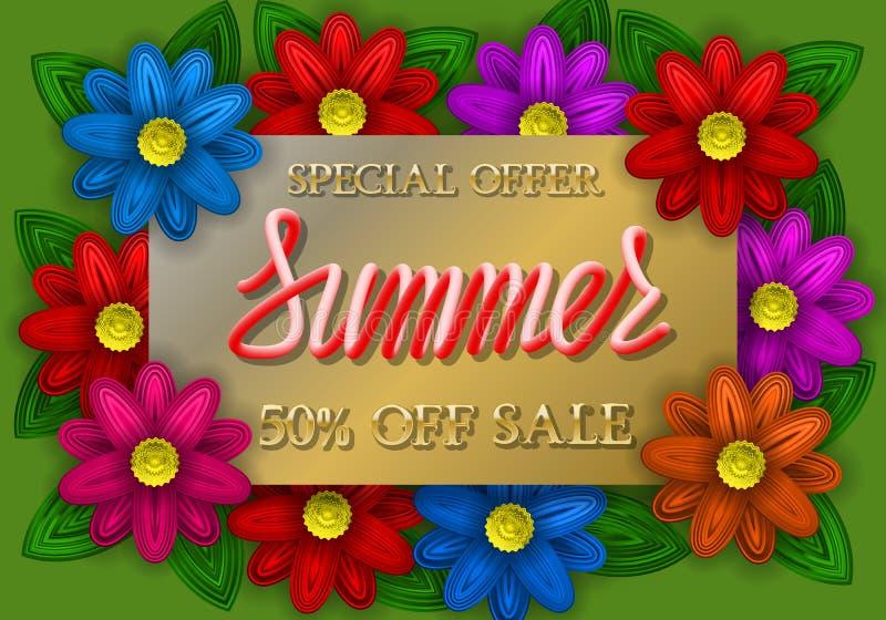 Lettrage d'or et rouge d'offre spéciale de vente d'été de gradient de plat d'or avec les fleurs colorées illustration libre de droits