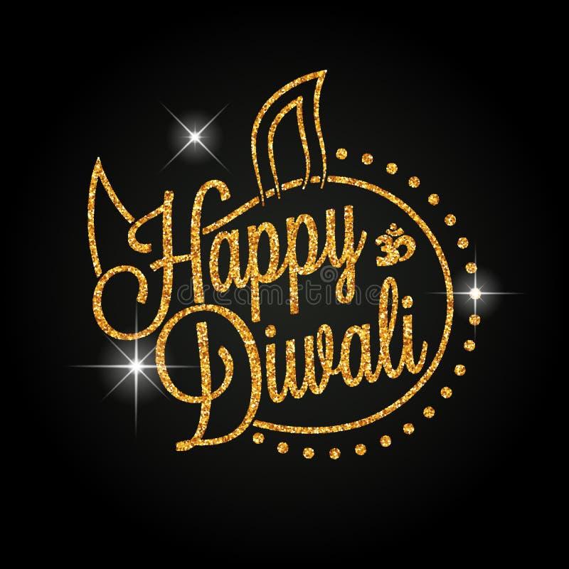 Lettrage d'or heureux de Diwali illustration libre de droits