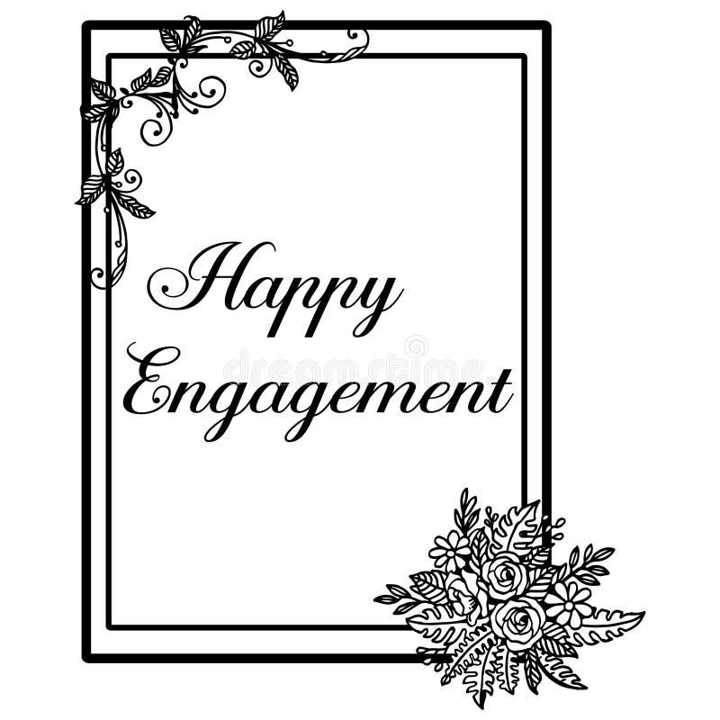 Lettrage d'illustration de vecteur d'engagement heureux avec le beau cadre floral illustration libre de droits