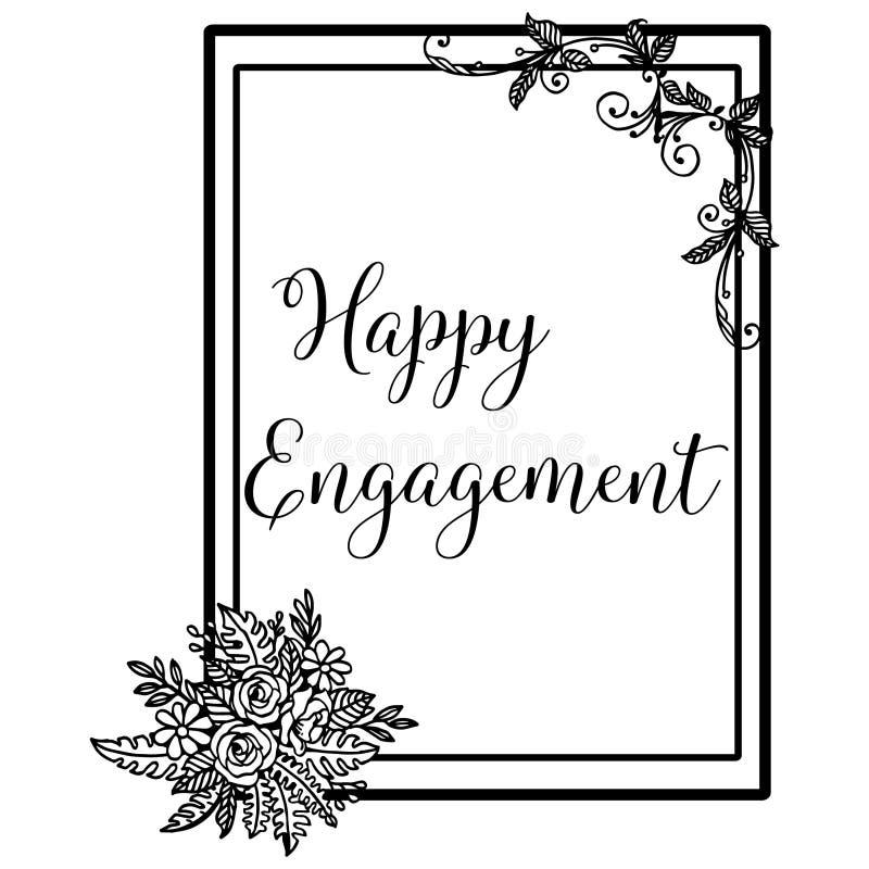 Lettrage d'illustration de vecteur d'engagement heureux avec le beau cadre floral illustration stock
