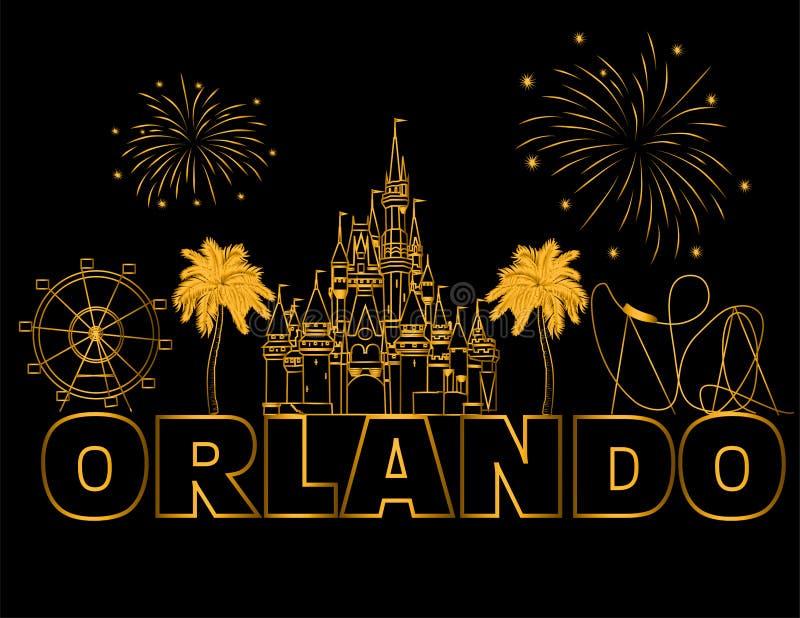 Lettrage d'or d'Orlando sur le backround noir Vecteur avec des ic?nes et des feux d'artifice de voyage Carte postale de voyage images libres de droits