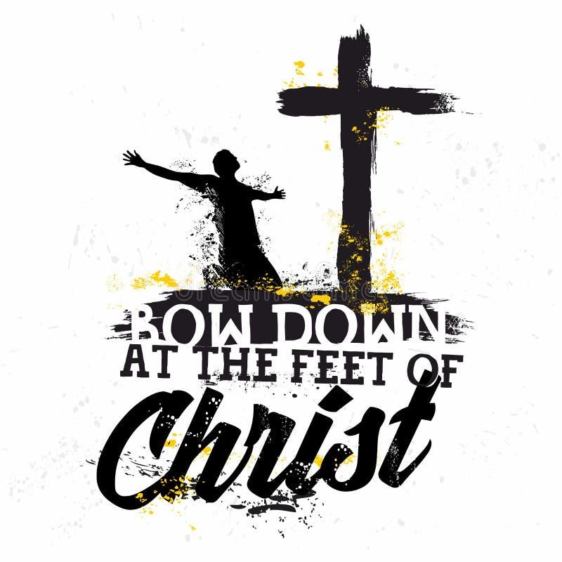 Lettrage de bible Christian Art Cintrez vers le bas aux pieds du Christ illustration stock