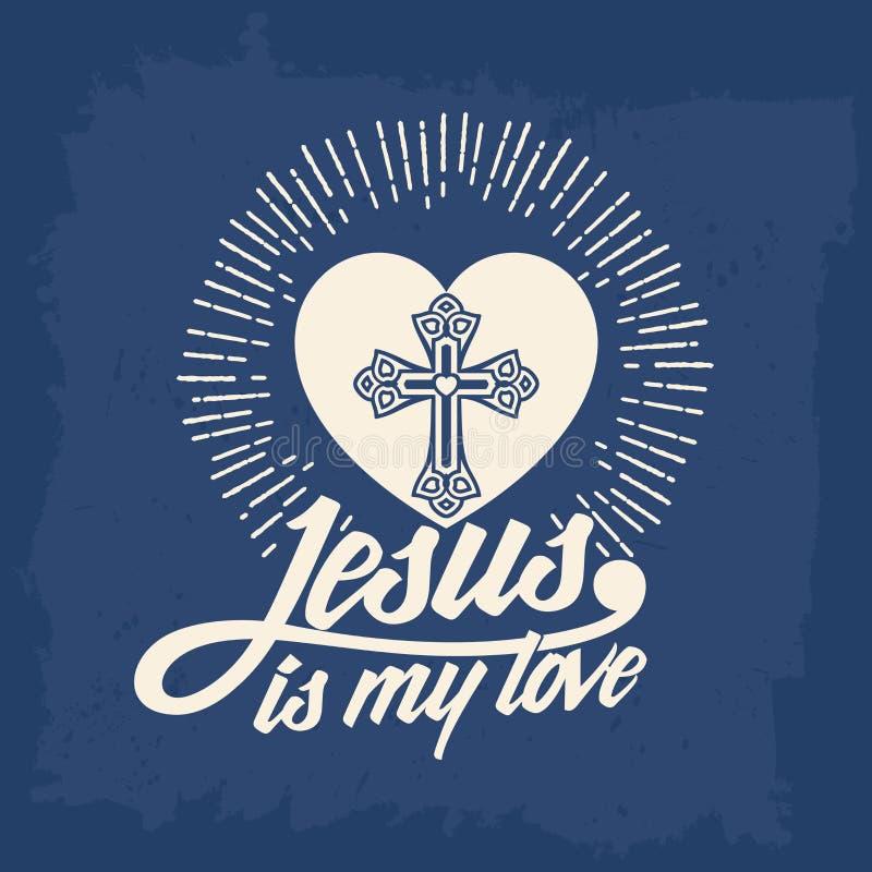 Lettrage de bible Christian Art Jésus est mon amour illustration de vecteur