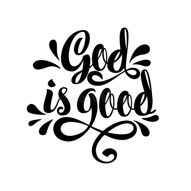 Lettrage de bible Illustration chrétienne Dieu est bon illustration de vecteur