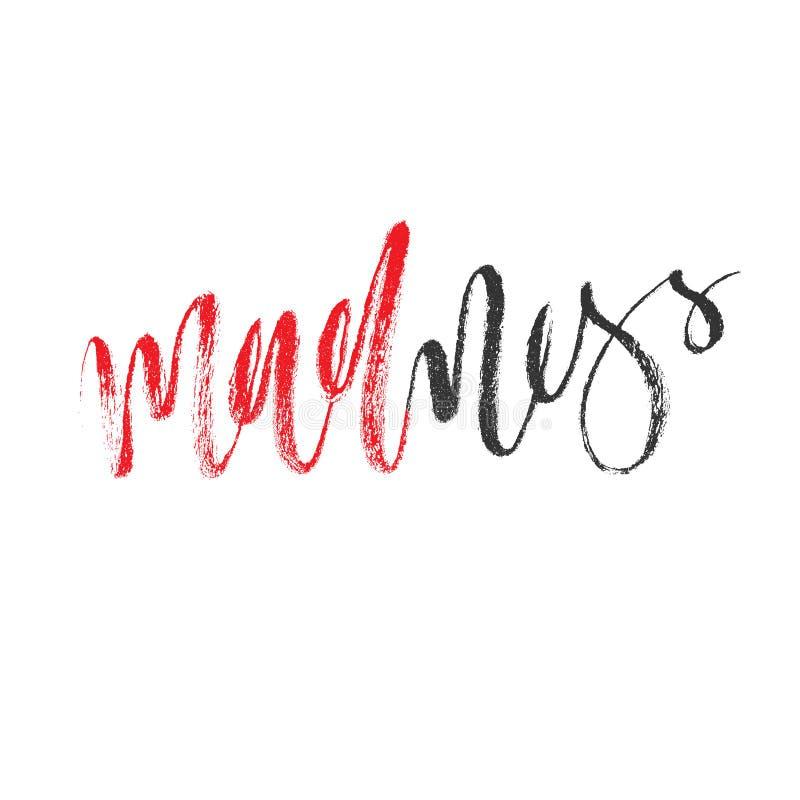 Lettrage de brosse pour la folie de mot Illustration editable calligraphique de vecteur Lettres tirées par la main grunges rouges illustration de vecteur