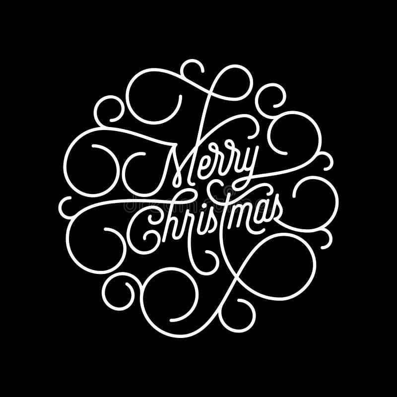 Lettrage de calligraphie de flourish de Joyeux Noël de ligne de biais typographie pour le design de carte de salutation Citation  illustration stock