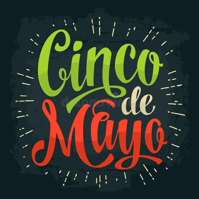 Lettrage de Cinco De Mayo Illustration de gravure de vintage de couleur de vecteur illustration de vecteur