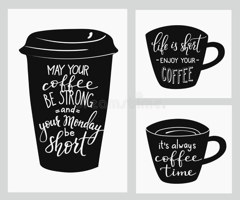 Lettrage de citation sur la forme de tasse de café illustration stock