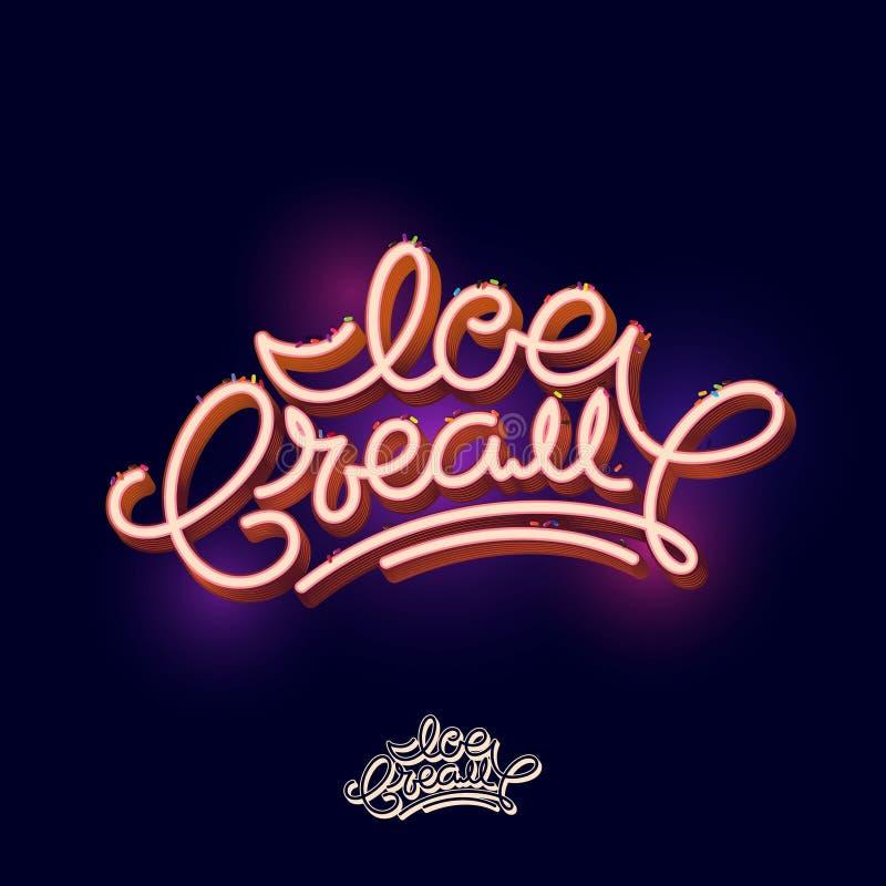 Lettrage de crème glacée  Composition en police Lettres volumétriques gravées Une belle inscription pour un signe ou une affiche illustration libre de droits