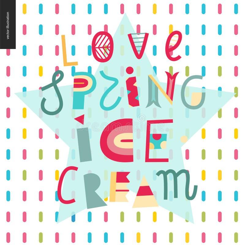 Lettrage de crème glacée de ressort d'amour illustration stock