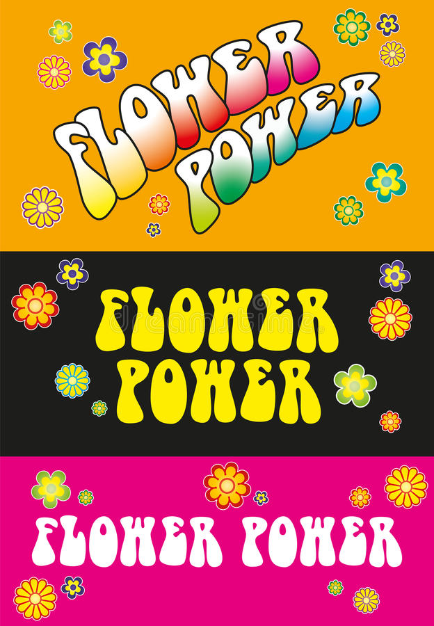 Lettrage de flower power illustration de vecteur
