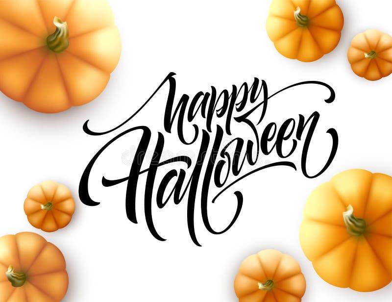 Lettrage de Halloween avec le potiron d'isolement sur le fond blanc Illustration de vecteur illustration de vecteur
