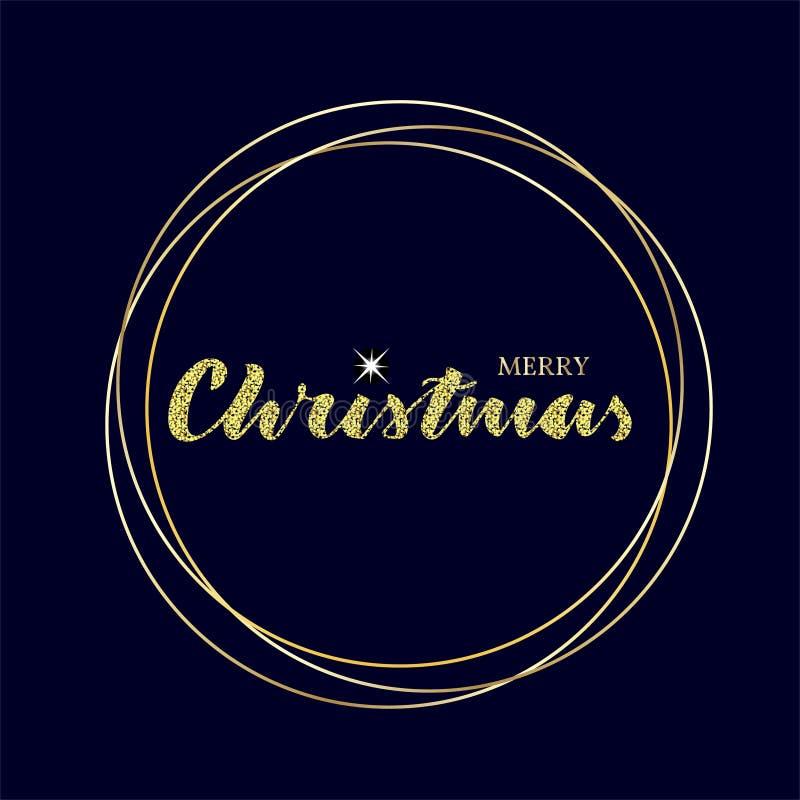 Lettrage de Joyeux Noël avec l'étoile d'étincelle et les cercles d'or illustration stock