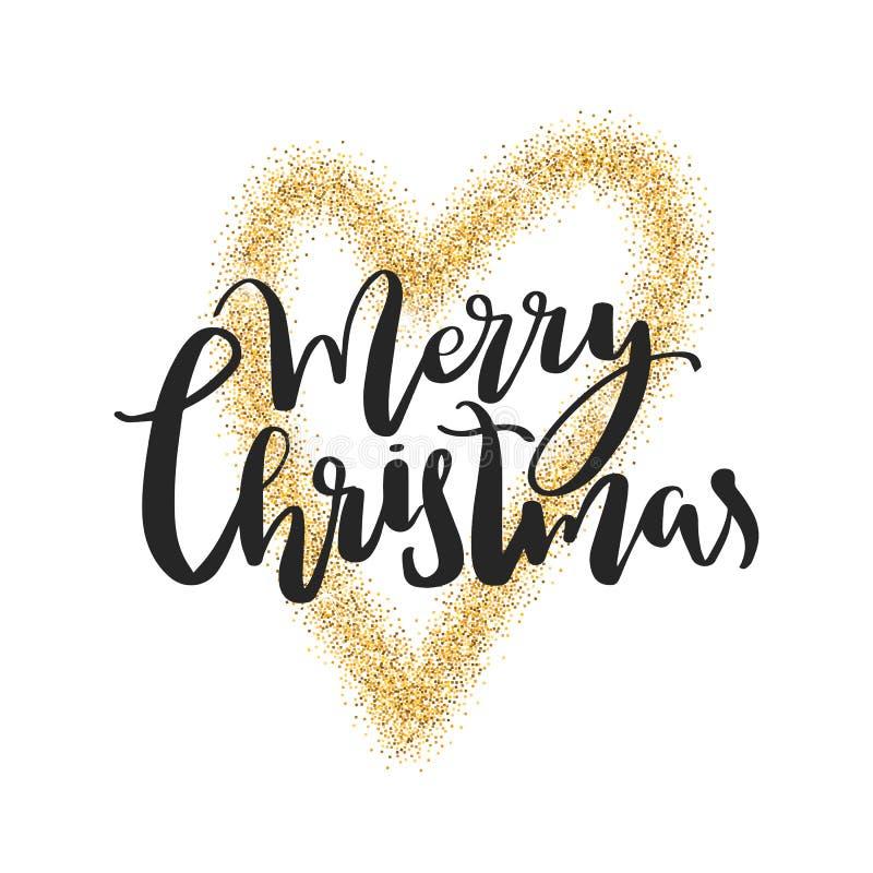 Lettrage de Joyeux Noël Calligraphie de Noël Carte de voeux de vacances Coeur de scintillement d'or illustration de vecteur