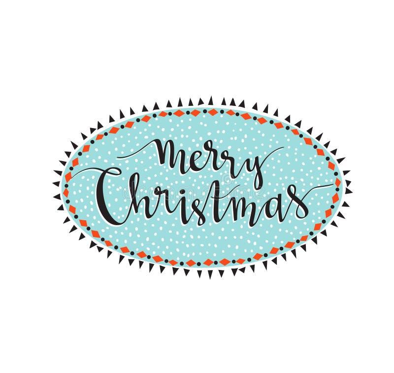 Lettrage de Joyeux Noël dans le cadre d'hiver Illustration de vecteur illustration stock
