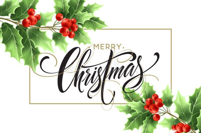 Lettrage de Joyeux Noël dans le cadre rectangulaire illustration stock