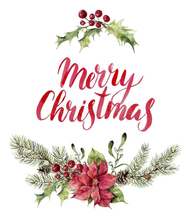 Lettrage de Joyeux Noël de witn d'impression florale de Noël d'aquarelle Branche d'arbre de nouvelle année avec la poinsettia, gu illustration libre de droits