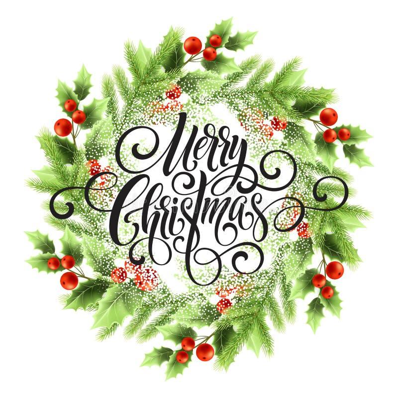 Lettrage de Joyeux Noël en guirlande de gui illustration de vecteur
