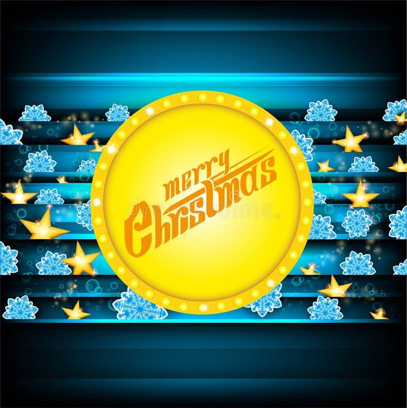 Lettrage de Joyeux Noël sur la bannière jaune de cercle et fond bleu-foncé avec les flocons de neige bleus et les étoiles d'or No illustration stock
